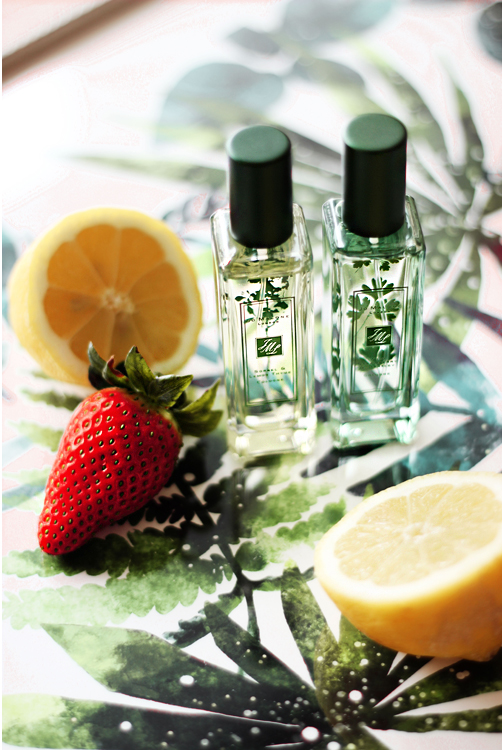 jo malone wild strawberry & parsley, sorrel lemon & thyme cologne  aimerose beauty blog review