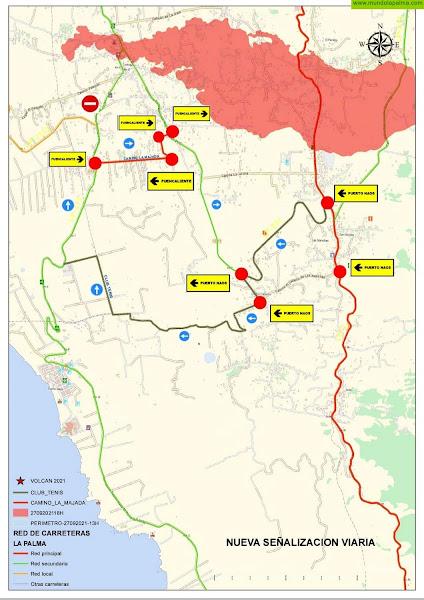 El Cabildo habilita dos vías alternativas para acceder al litoral del Valle de Aridane ante la afección de la carretera de la costa por la lava