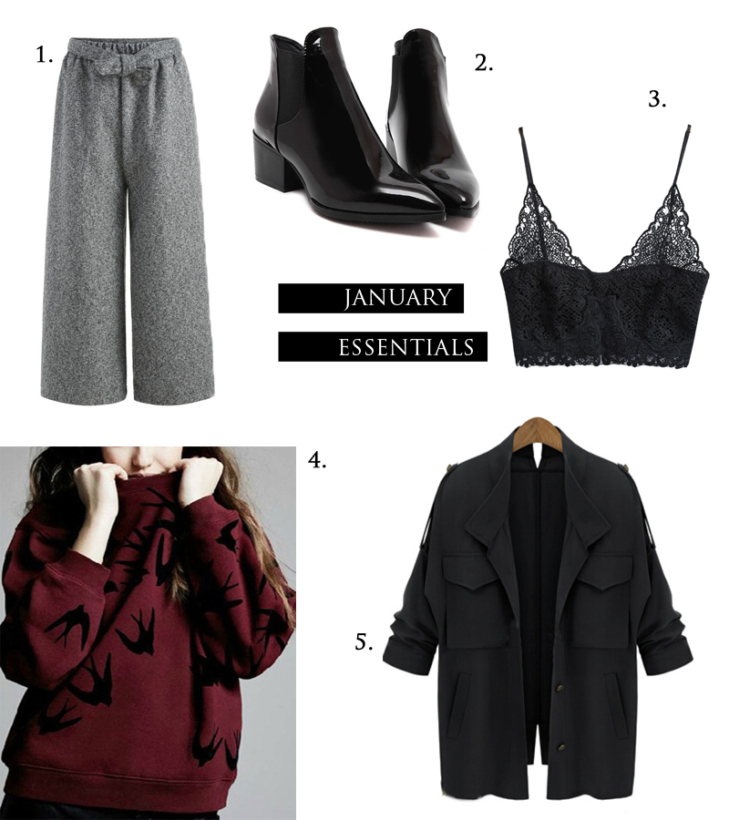 Grey culottes, acne inspired boots, ankle boots, pointy, bralette, lace top, slouchy jacket, isabel marant inspired, wine sweater, swallows, she inside, winter essentials 2016, shein, wish list
