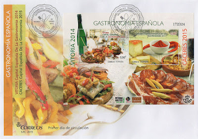 Sobre, PDC, filatelia, matasellos, sello, gastronomía, 2015, 2014, Cáceres, Vitoria