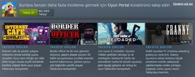 Steam Oyun Portal Küratör Sayfası