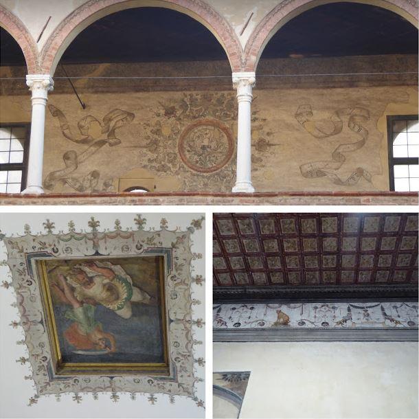 affreschi nel patio e nelle sale di casa Romei