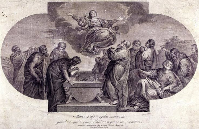 Maria Virgo celos ascendit  Roma - 1779 - Incisione di Domenico Cunego dal dipinto di Domenico Zampieri (Il Domenichino) Cappella Nolfi  Duomo di Fano
