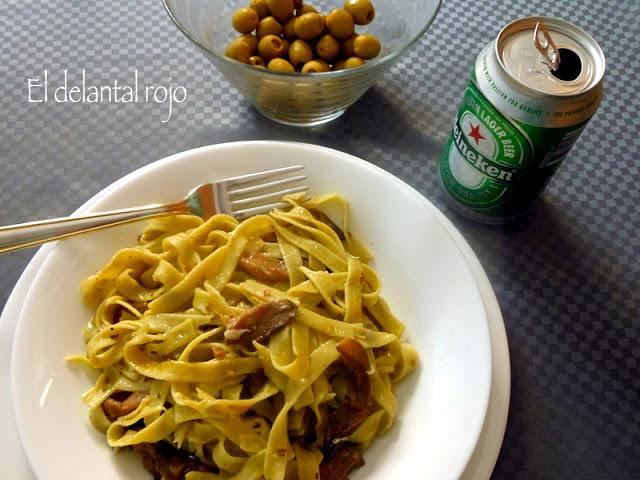 447.- Tagliatelle de espinacas con setas.- Cocinar sin estrés
