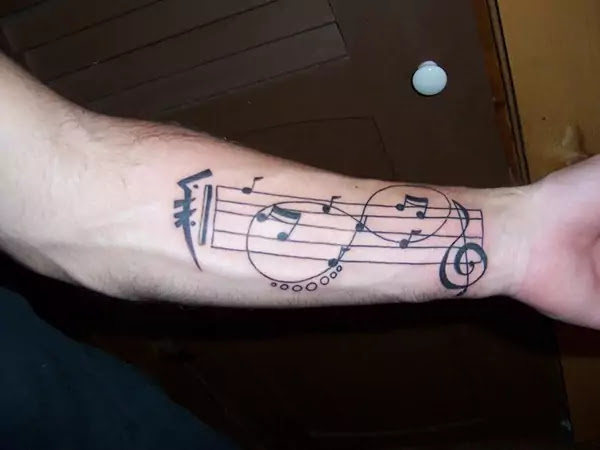 Music Notes Tattoo Design For Forearm
