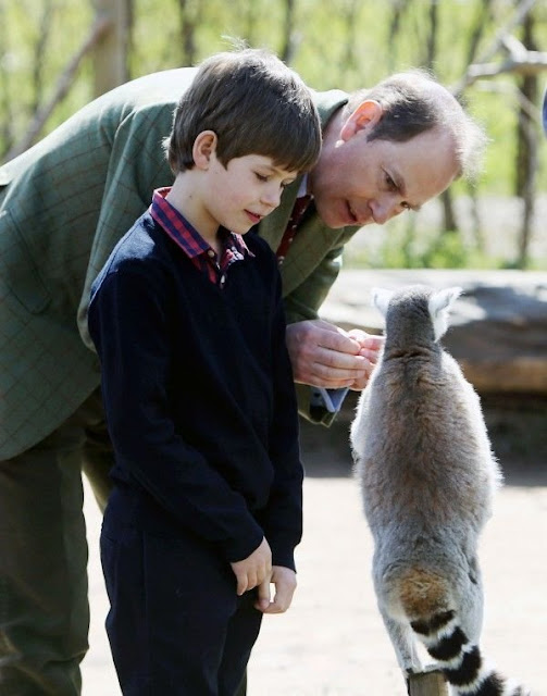 Prince Edward, Earl of Wessex, Sophie, Countess of Wessex, Lady Louise Windsor and James, Viscount Severn visit Bristol Zoo