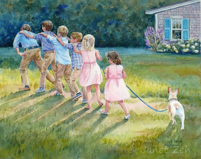 Custom watercolor painting of children playing games at a backyard wedding