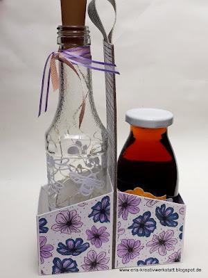 Anleitung / Tutorial für einen Flaschenhalter mit schrägen Seiten Stampin' Up! www.eris-kreativwerkstatt.blogspot.de