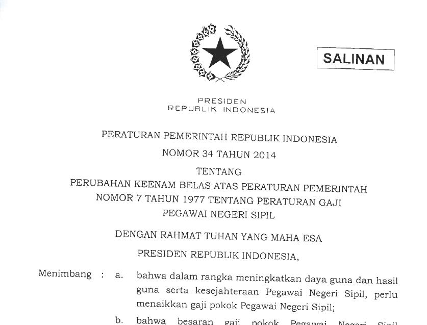 PP No 34 Tahun 2014 (Gaji Pokok PNS 2014)