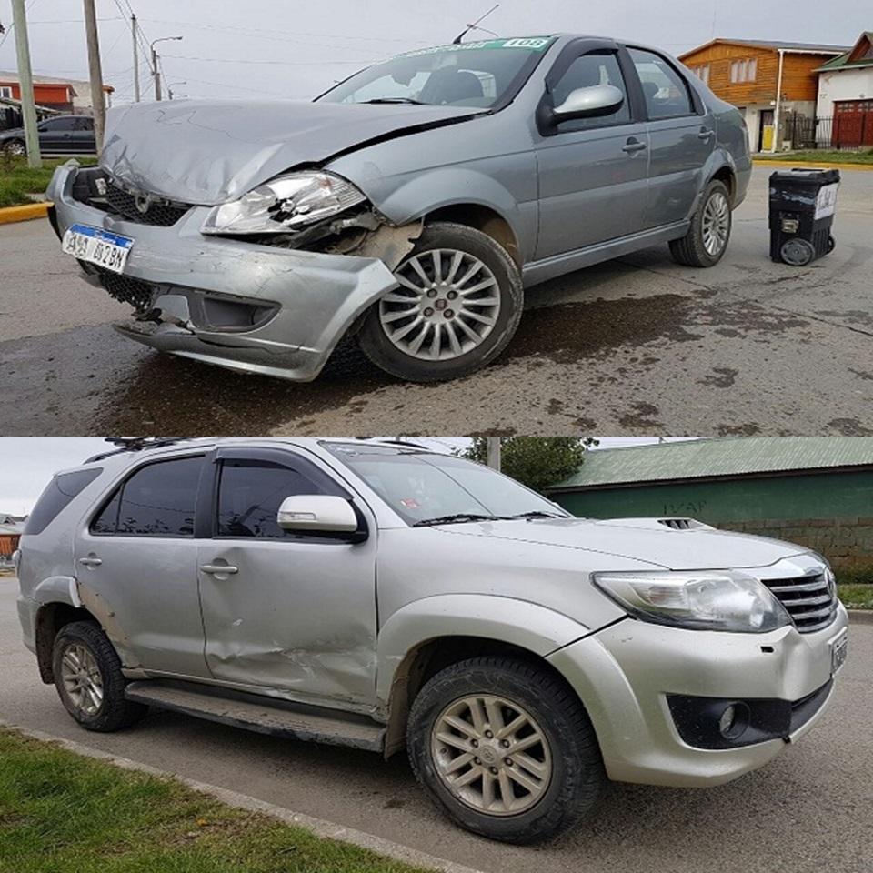 Choque entre una Toyota y un Siena