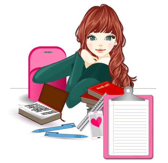 Chica con material de estudiante - vector