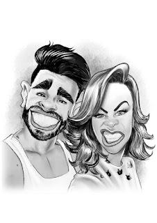 caricatura de casal para presente