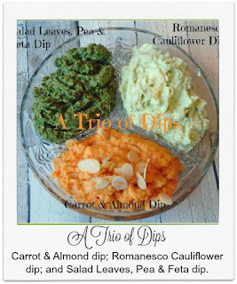 Made with fresh vegetables, these three dips of carrot and almond dip; romanesco cauliflower dip; and salad leaves, pea and feta dip, are as delicious as they are colourful!  They'd make an easy and healthy addition to any party or movie night.