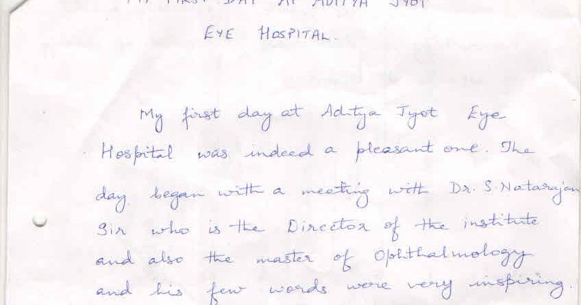 Aditya Jyot Eye Hospital: My First Day Working Experience