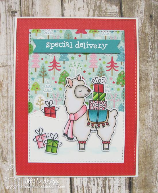 Llama Holiday card by Holly Endress | Llama Delivery Stamp Set by Newton's Nook Designs #newtonsnook #handmade