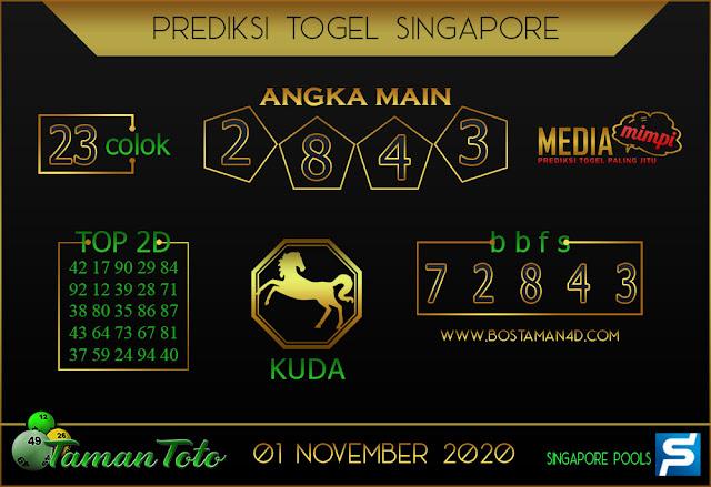 Prediksi Togel SINGAPORE TAMAN TOTO 01 NOVEMBER 2020