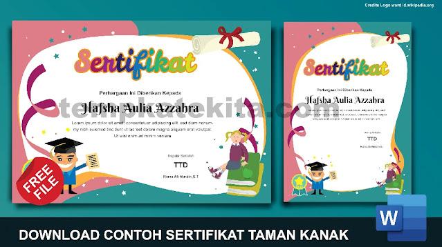 Download Contoh Sertifikat PAUD Pendidikan Anak Usia dini Word Coreldraw photoshop