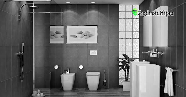 desain kamar mandi sederhana dengan ubin berwarna abu