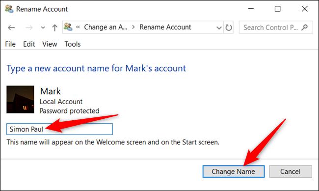 """اكتب اسمًا جديدًا وانقر فوق """"تغيير الاسم""""."""