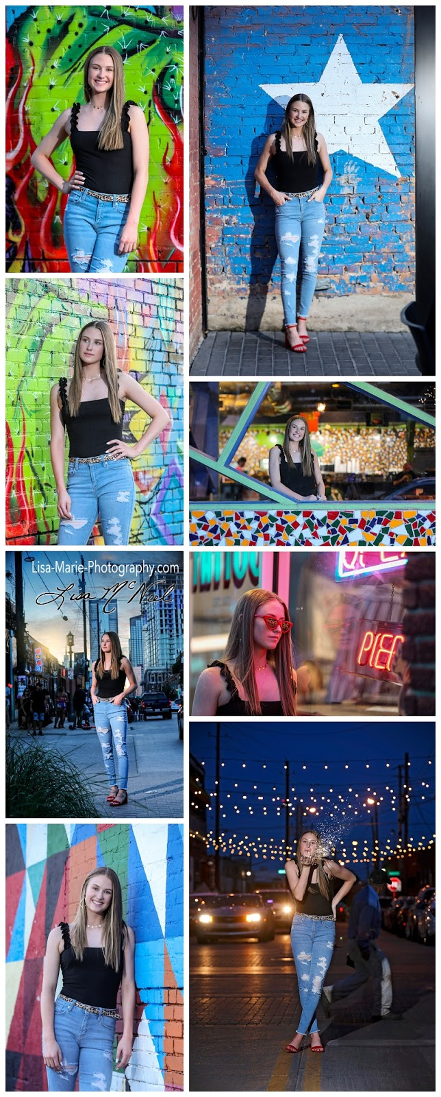 pictures of teen by variety of walls in urban setting