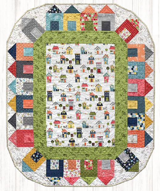 Around The Block Quilt designed by Debbie Beaves featuring Make Yourself at Home Collection by Kim Christopherson of Kimberbell Designs