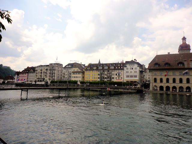 Buildings by the Reuss river in Lucerne, Switzerland