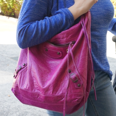 cobalt knit and Balenciaga Day bag in 2005 magenta | Away From The Blue