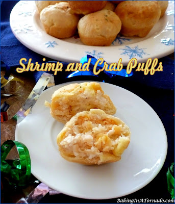 Shrimp and Crab Puffs are a simple but elegant appetizer for the holidays or any occasion. | Recipe developed by www.BakingInATornado.com | #recipe #appetizer