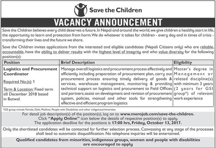 logistics procurement coordinator needs in save the children