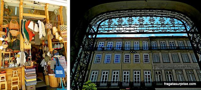 Loja de artesanato e um dos portões do Mercado do Bolhão, no Porto