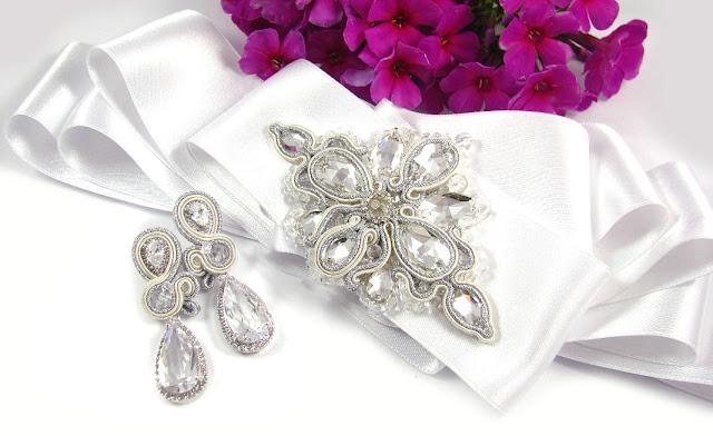 Kryształowy, ślubny pas biżuteryjny sutasz ivory.