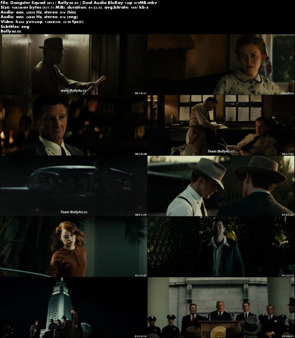 Gangster Squad 2013 BluRay 850MB Hindi Dual Audio 720p Download