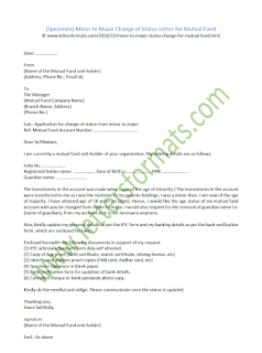 Minor to Major Change of Status Letter for Mutual Fund (Sample)