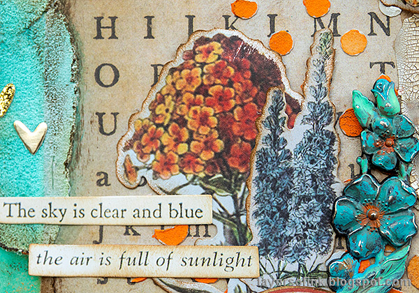 Layers of ink - Texture Paste Tag Tutorial by Anna-Karin Evaldsson. Vintage flowers.