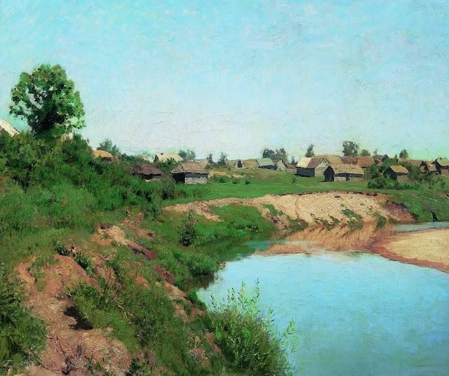 Исаак Ильич Левитан - Деревня на берегу реки. 1883