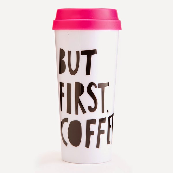 White Background of Coffee Mug with pink Lid + Quote