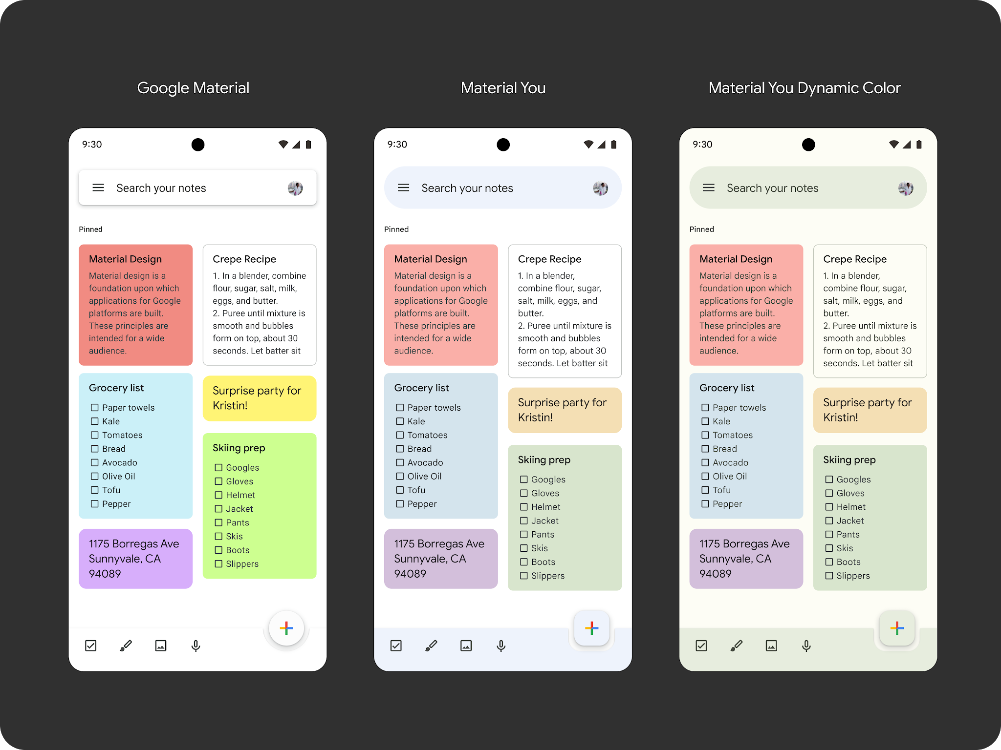 Material You - Google Keep
