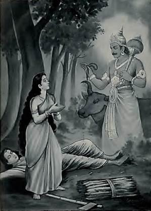यम सत्यवान की आत्मा को लेने आता है और सावित्री उसका पीछा करती है। (सौजन्य: गीता प्रेस द्वारा महाभारत)