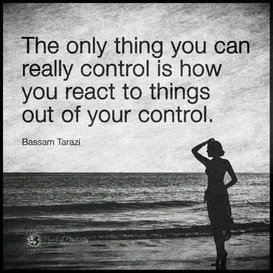 The Only Thing You Can Really Control Is How You React To Things Out