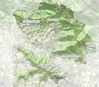The area encompassing the Parco dei Colli di Bergamo.