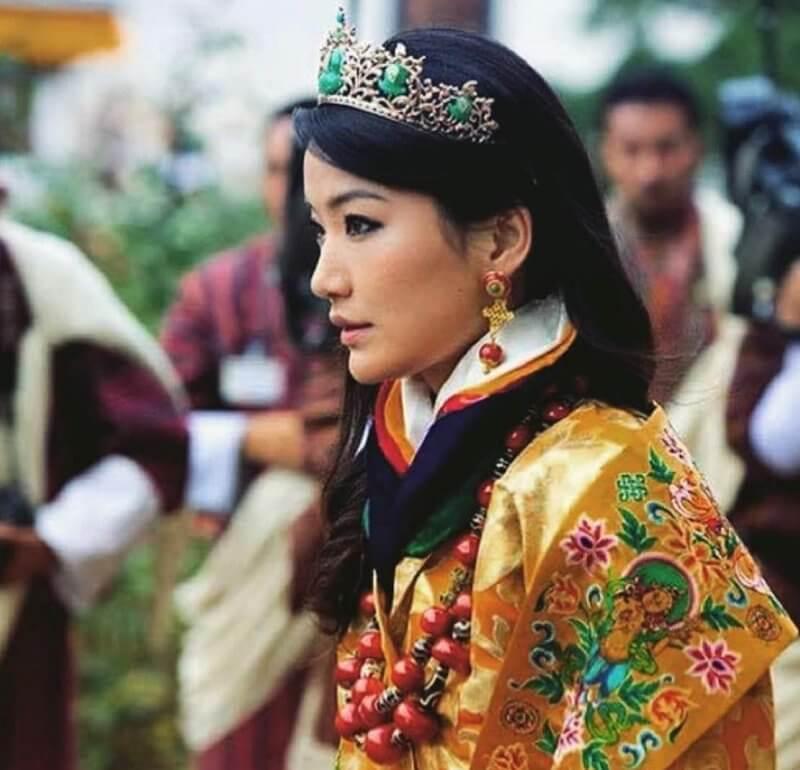 Queen Jetsun Pema of Bhutan (The Gyaltsuen or Dragon Queen), diamond gold tiara, gold earrings