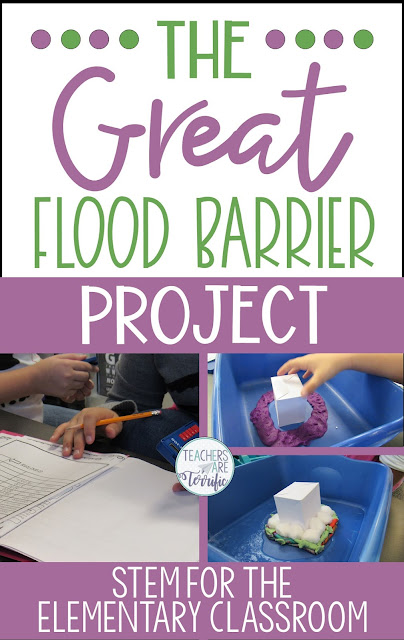 STEM Challenge- Build a flood barrier to protect a little house! Test with water! Includes experimenting with absorbent materials and then designing! #teachersareterrific #STEM #elementary