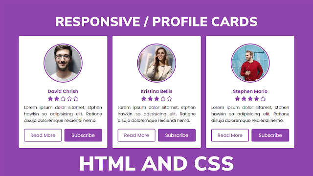Responsive Profile Cards using HTML & CSS Only