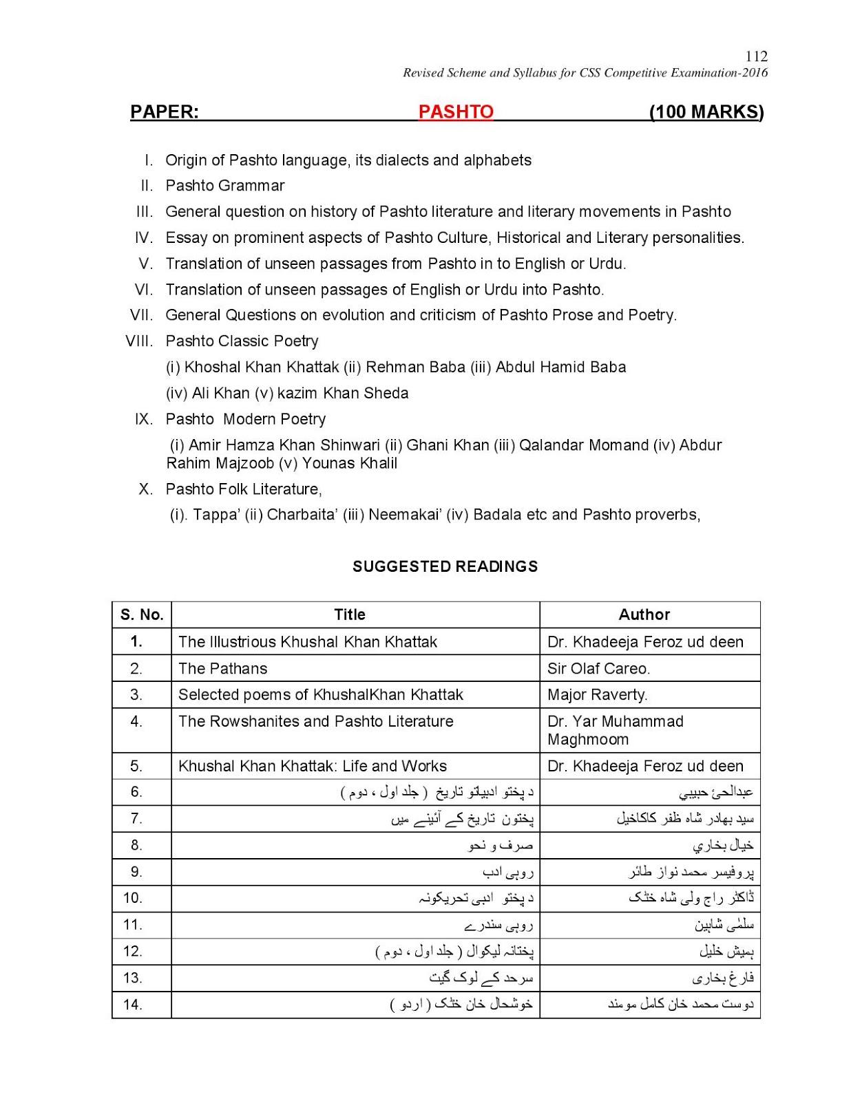 CSS 2016 New Revised Syllabus Pashto   Download PPSC FPSC