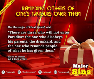 MAJOR SIN. 40. REMINDING OTHERS OF ONE'S FAVOURS OVER THEM