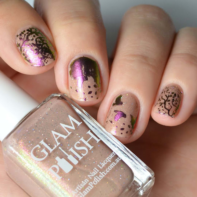powder pigment stamping nail art