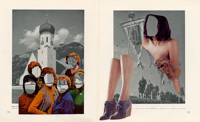 Collages from altered book of mountain photos