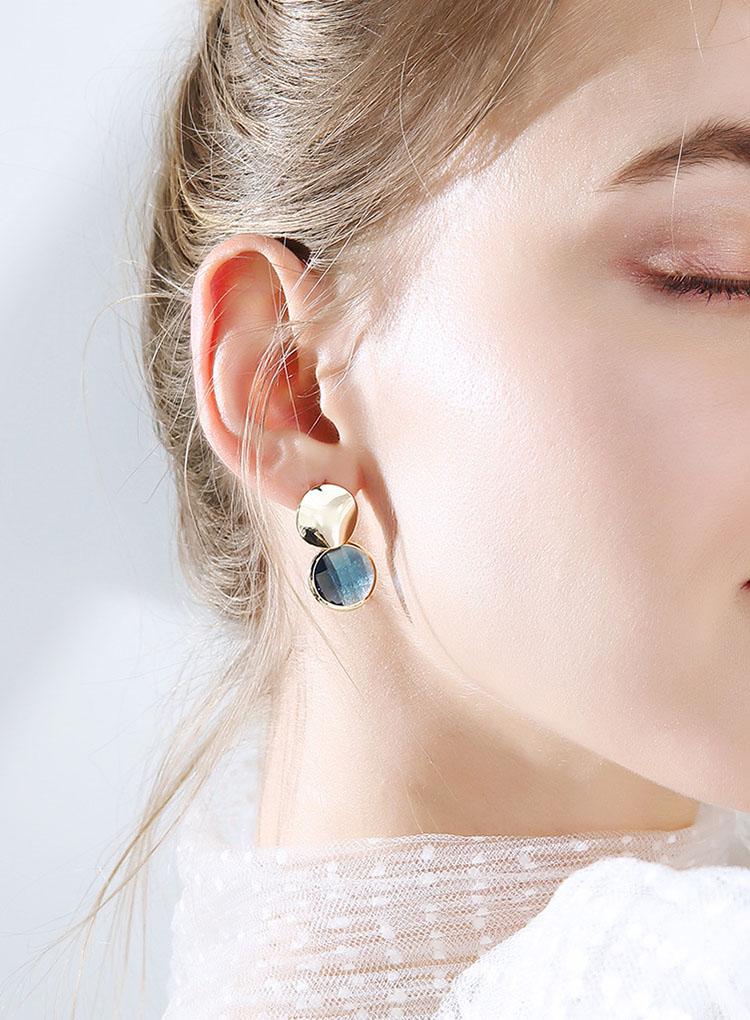 蜜雅時尚金屬藍水晶耳環
