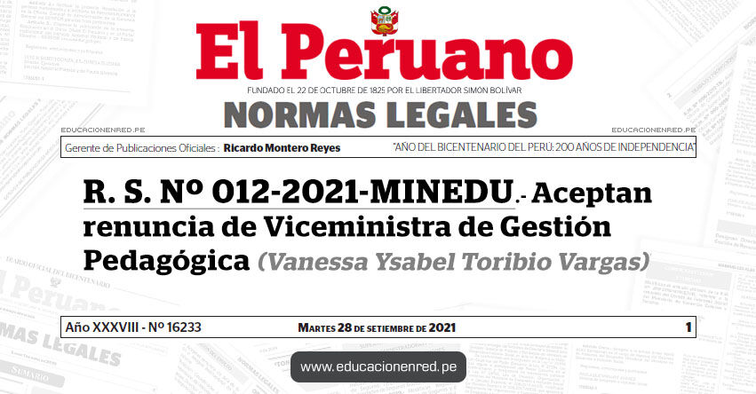 R. S. Nº 012-2021-MINEDU.- Aceptan renuncia de Viceministra de Gestión Pedagógica (Vanessa Ysabel Toribio Vargas)