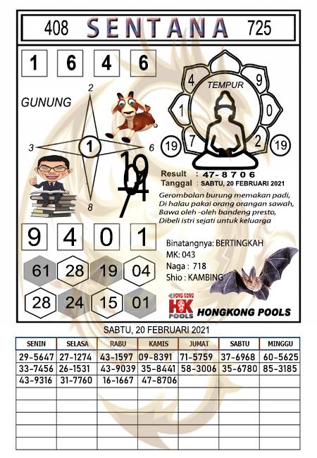 Syair Sentana HK Sabtu 20 Februari 2021